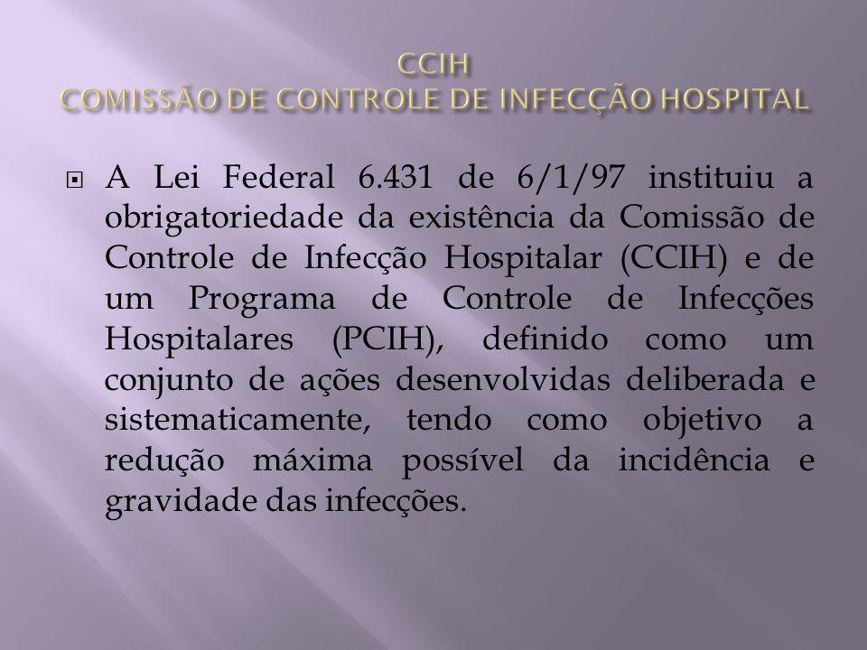 A Lei Federal 6.431 de 6/1/97 instituiu a obrigatoriedade da existência da Comissão de Controle de Infecção Hospitalar (CCIH) e de um Programa de Cont