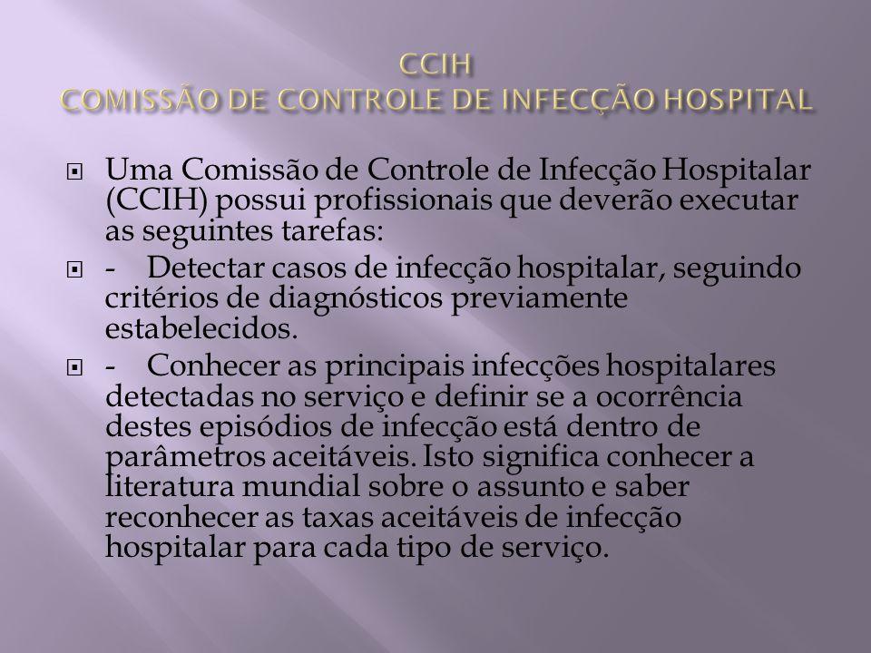 Uma Comissão de Controle de Infecção Hospitalar (CCIH) possui profissionais que deverão executar as seguintes tarefas: - Detectar casos de infecção ho