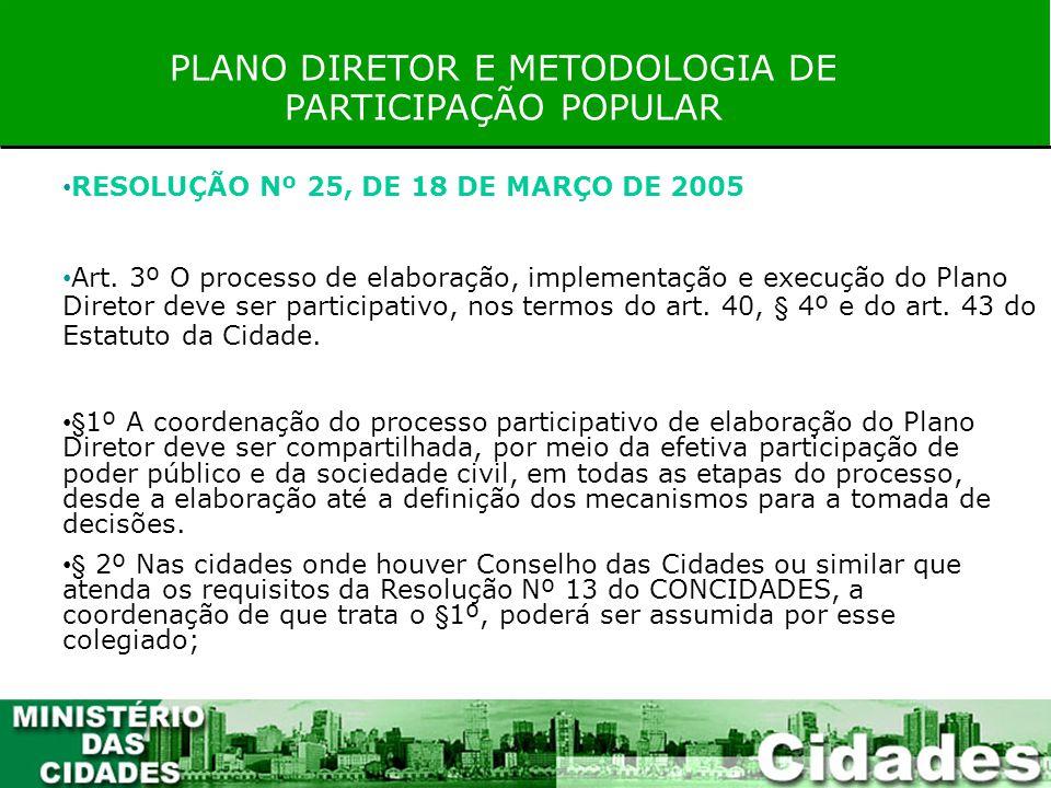 PLANO DIRETOR E METODOLOGIA DE PARTICIPAÇÃO POPULAR RESOLUÇÃO Nº 25, DE 18 DE MARÇO DE 2005 Art. 3º O processo de elaboração, implementação e execução