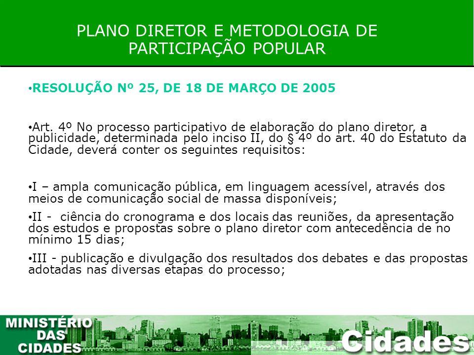 PLANO DIRETOR E METODOLOGIA DE PARTICIPAÇÃO POPULAR RESOLUÇÃO Nº 25, DE 18 DE MARÇO DE 2005 Art. 4º No processo participativo de elaboração do plano d