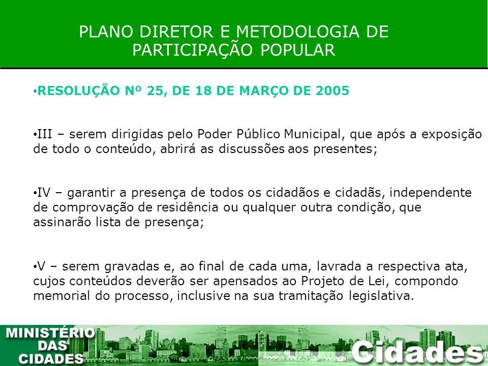 PLANO DIRETOR E METODOLOGIA DE PARTICIPAÇÃO POPULAR RESOLUÇÃO Nº 25, DE 18 DE MARÇO DE 2005 III – serem dirigidas pelo Poder Público Municipal, que ap