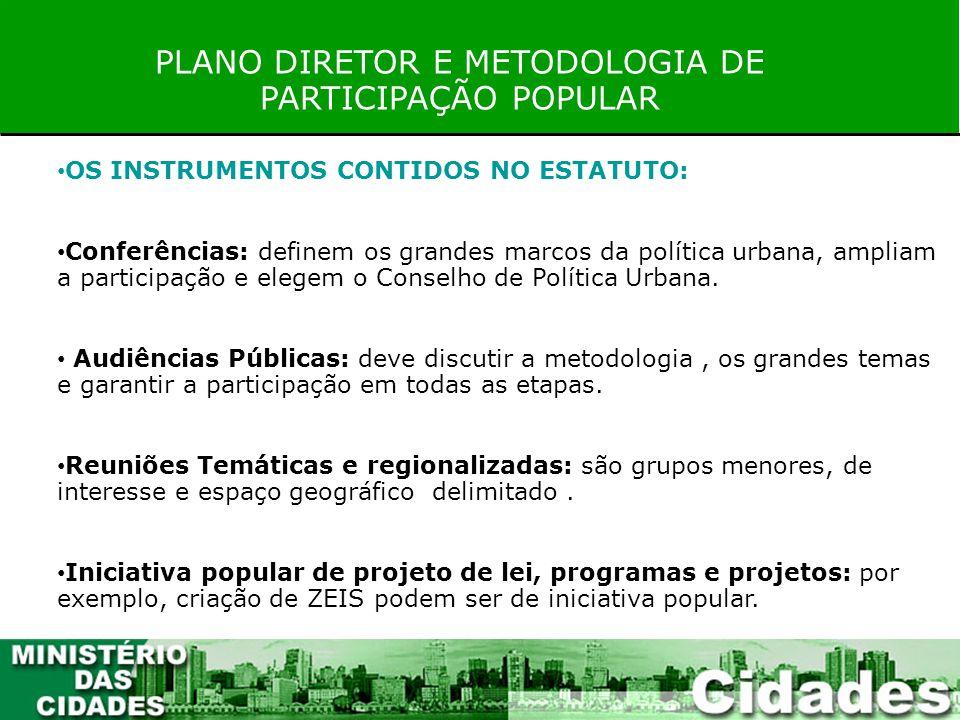 PLANO DIRETOR E METODOLOGIA DE PARTICIPAÇÃO POPULAR OS INSTRUMENTOS CONTIDOS NO ESTATUTO: Conferências: definem os grandes marcos da política urbana,