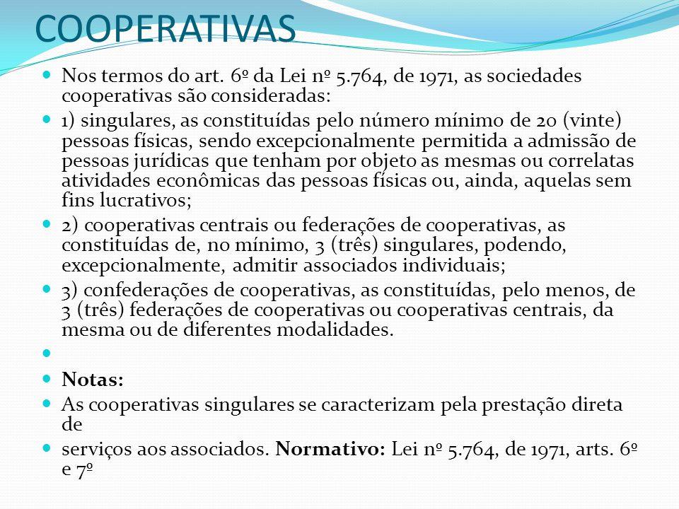CLASSIFICAÇÃO DAS COOPERATIVAS Nos termos do art. 6º da Lei nº 5.764, de 1971, as sociedades cooperativas são consideradas: 1) singulares, as constitu