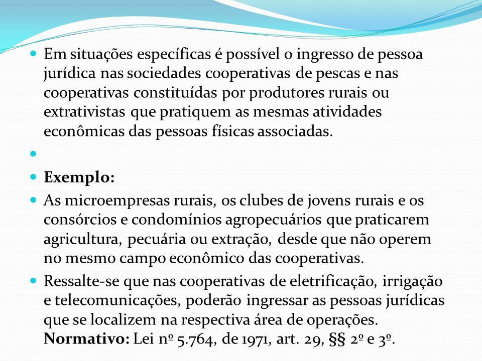 Em situações específicas é possível o ingresso de pessoa jurídica nas sociedades cooperativas de pescas e nas cooperativas constituídas por produtores