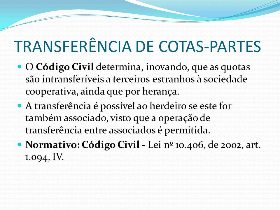 TRANSFERÊNCIA DE COTAS-PARTES O Código Civil determina, inovando, que as quotas são intransferíveis a terceiros estranhos à sociedade cooperativa, ain