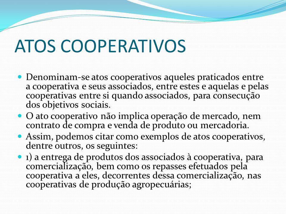 ATOS COOPERATIVOS Denominamse atos cooperativos aqueles praticados entre a cooperativa e seus associados, entre estes e aquelas e pelas cooperativas e