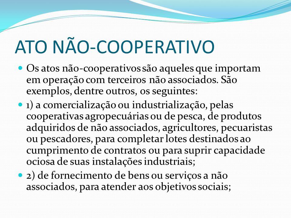 ATO NÃO-COOPERATIVO Os atos nãocooperativos são aqueles que importam em operação com terceiros não associados. São exemplos, dentre outros, os seguint