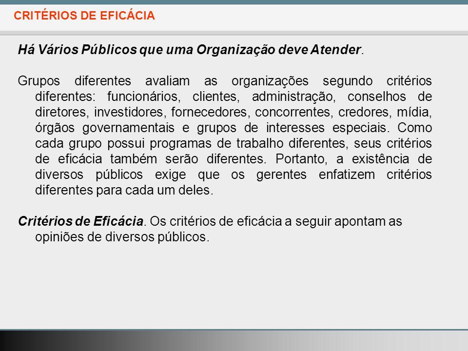 CRITÉRIOS DE EFICÁCIA Há Vários Públicos que uma Organização deve Atender.