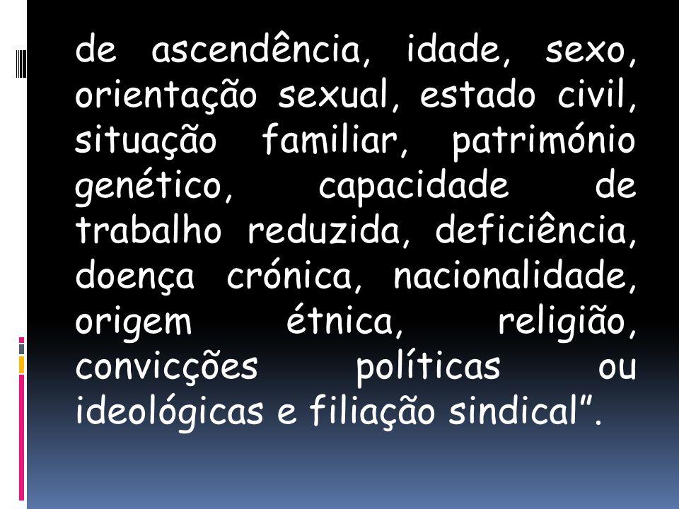de ascendência, idade, sexo, orientação sexual, estado civil, situação familiar, património genético, capacidade de trabalho reduzida, deficiência, do