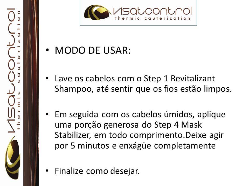 MODO DE USAR: Lave os cabelos com o Step 1 Revitalizant Shampoo, até sentir que os fios estão limpos. Em seguida com os cabelos úmidos, aplique uma po
