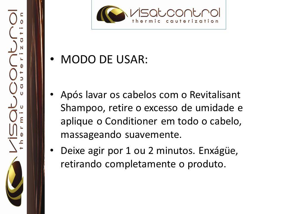 MODO DE USAR: Após lavar os cabelos com o Revitalisant Shampoo, retire o excesso de umidade e aplique o Conditioner em todo o cabelo, massageando suav