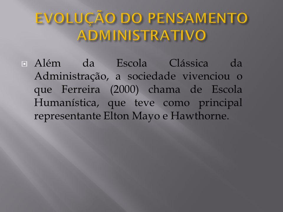 Além da Escola Clássica da Administração, a sociedade vivenciou o que Ferreira (2000) chama de Escola Humanística, que teve como principal representante Elton Mayo e Hawthorne.