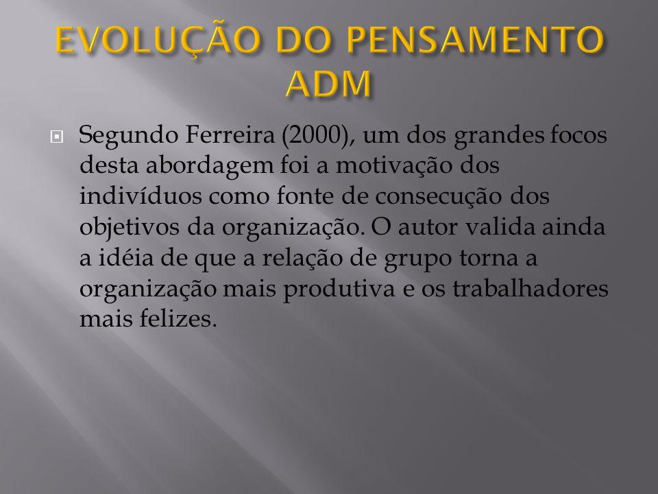 Segundo Ferreira (2000), um dos grandes focos desta abordagem foi a motivação dos indivíduos como fonte de consecução dos objetivos da organização.