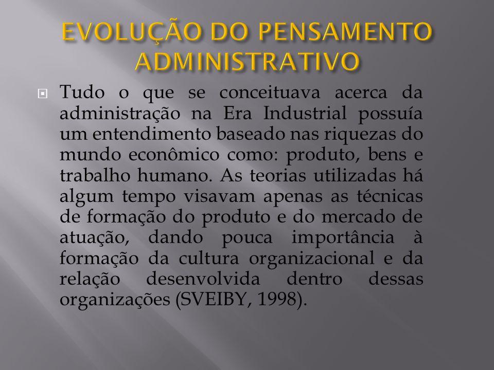 Tudo o que se conceituava acerca da administração na Era Industrial possuía um entendimento baseado nas riquezas do mundo econômico como: produto, bens e trabalho humano.