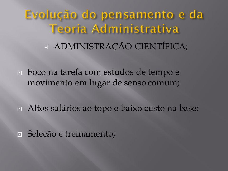 ADMINISTRAÇÃO CIENTÍFICA; Foco na tarefa com estudos de tempo e movimento em lugar de senso comum; Altos salários ao topo e baixo custo na base; Seleção e treinamento;