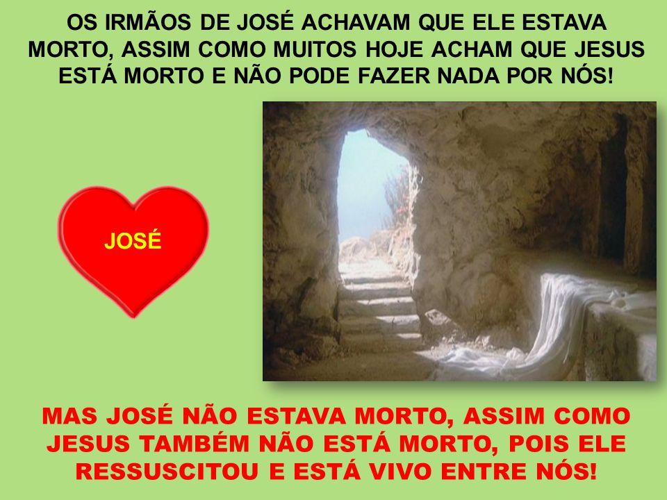 MAS JOSÉ NÃO ESTAVA MORTO, ASSIM COMO JESUS TAMBÉM NÃO ESTÁ MORTO, POIS ELE RESSUSCITOU E ESTÁ VIVO ENTRE NÓS! OS IRMÃOS DE JOSÉ ACHAVAM QUE ELE ESTAV