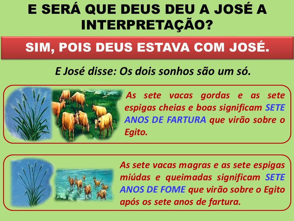 SIM, POIS DEUS ESTAVA COM JOSÉ. E SERÁ QUE DEUS DEU A JOSÉ A INTERPRETAÇÃO? E José disse: Os dois sonhos são um só. As sete vacas gordas e as sete esp