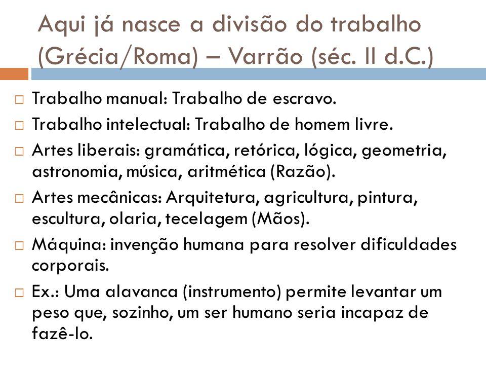 Aqui já nasce a divisão do trabalho (Grécia/Roma) – Varrão (séc. II d.C.) Trabalho manual: Trabalho de escravo. Trabalho intelectual: Trabalho de home