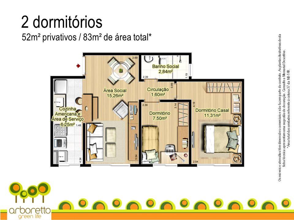 2 dormitórios 52m² privativos / 83m² de área total* Os móveis e utensílios têm dimensões comerciais e não fazem parte do contrato. As plantas ilustrat