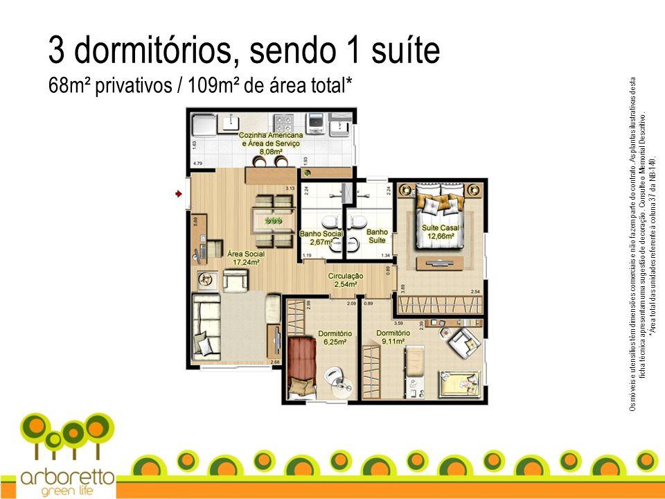 3 dormitórios, sendo 1 suíte 68m² privativos / 109m² de área total* Os móveis e utensílios têm dimensões comerciais e não fazem parte do contrato. As