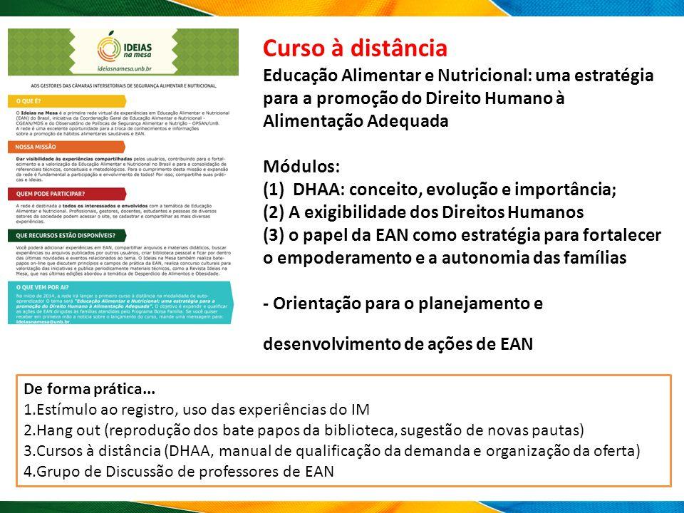Curso à distância Educação Alimentar e Nutricional: uma estratégia para a promoção do Direito Humano à Alimentação Adequada Módulos: (1) DHAA: conceit