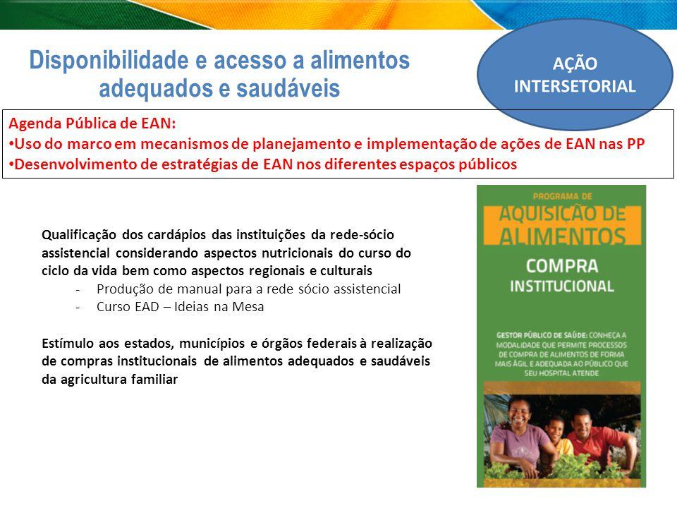 Disponibilidade e acesso a alimentos adequados e saudáveis Qualificação dos cardápios das instituições da rede-sócio assistencial considerando aspecto