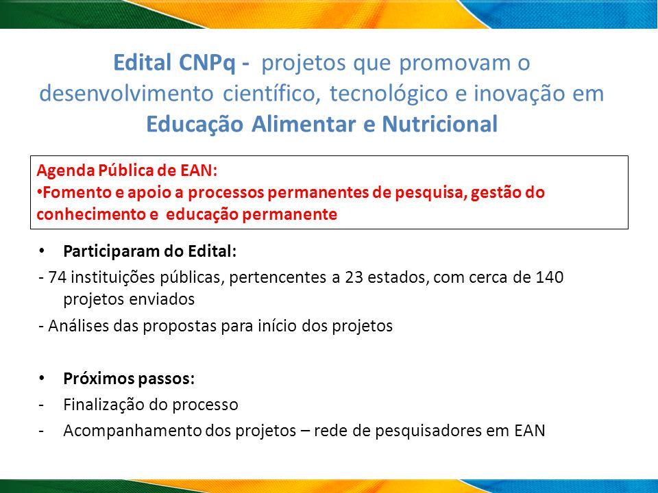 Edital CNPq - projetos que promovam o desenvolvimento científico, tecnológico e inovação em Educação Alimentar e Nutricional Participaram do Edital: -