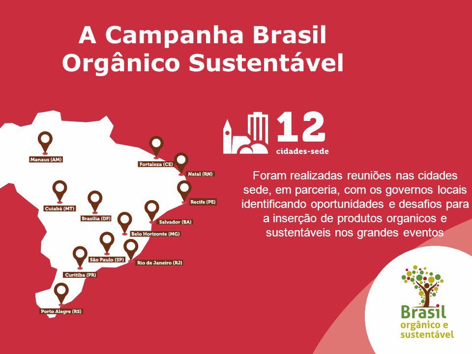 A Campanha Brasil Orgânico Sustentável Foram realizadas reuniões nas cidades sede, em parceria, com os governos locais identificando oportunidades e d