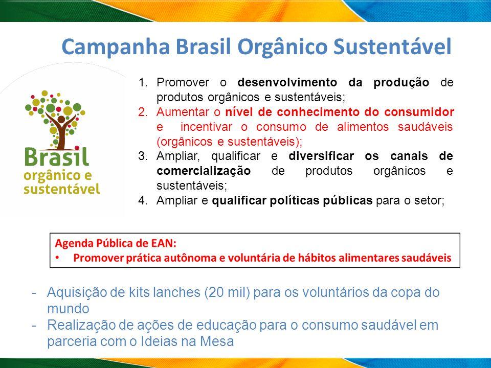 A Campanha Brasil Orgânico Sustentável 1.Promover o desenvolvimento da produção de produtos orgânicos e sustentáveis; 2.Aumentar o nível de conhecimen