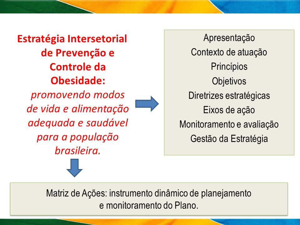 Estratégia Intersetorial de Prevenção e Controle da Obesidade: promovendo modos de vida e alimentação adequada e saudável para a população brasileira.