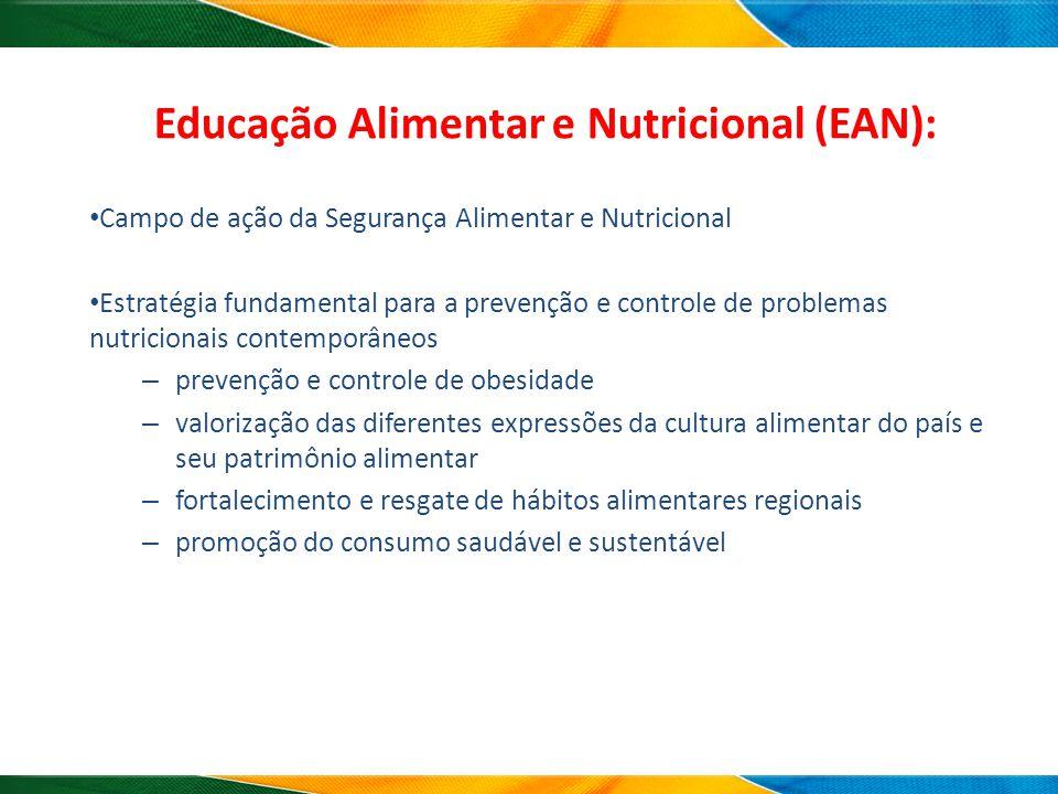 Educação Alimentar e Nutricional (EAN): Campo de ação da Segurança Alimentar e Nutricional Estratégia fundamental para a prevenção e controle de probl