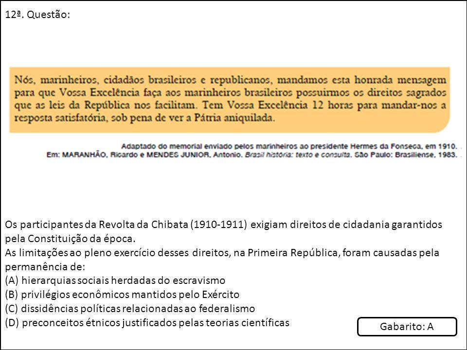 12ª. Questão: Os participantes da Revolta da Chibata (1910-1911) exigiam direitos de cidadania garantidos pela Constituição da época. As limitações ao