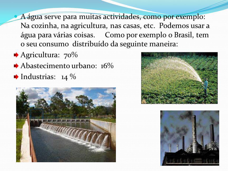 A água serve para muitas actividades, como por exemplo: Na cozinha, na agricultura, nas casas, etc.
