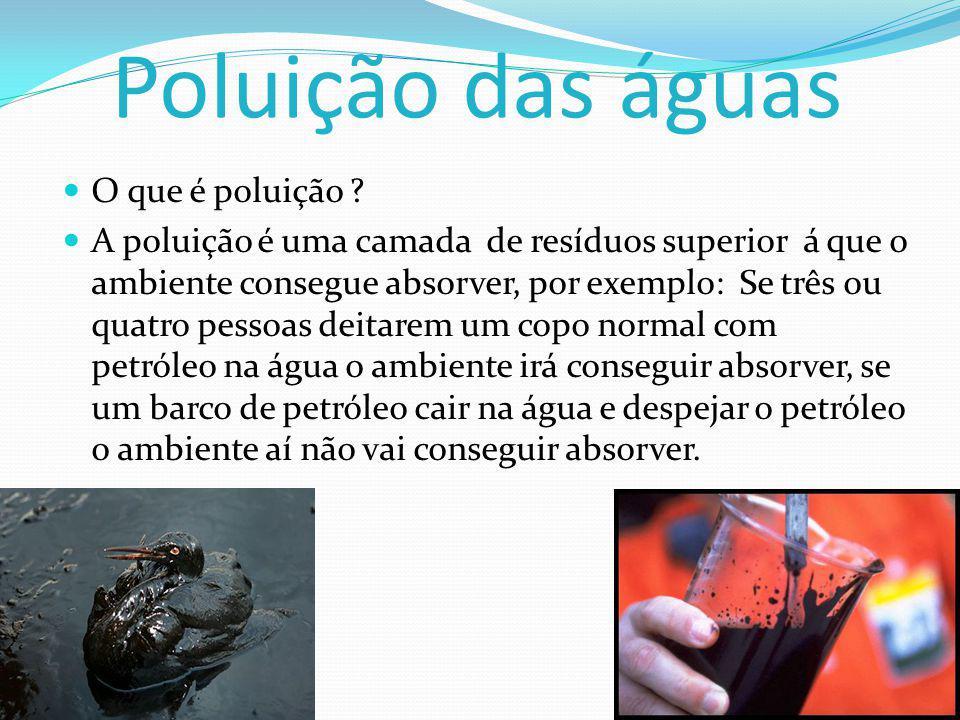 Poluição das águas O que é poluição .