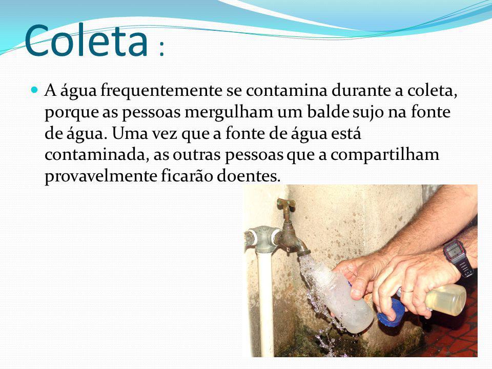 Coleta : A água frequentemente se contamina durante a coleta, porque as pessoas mergulham um balde sujo na fonte de água.