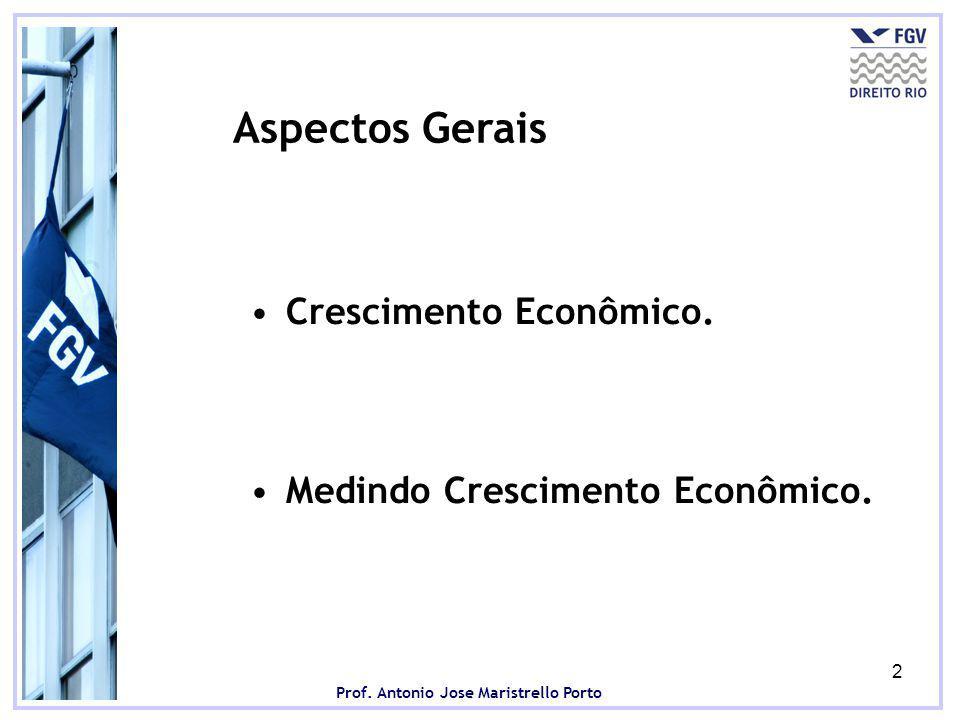 Prof.Antonio Jose Maristrello Porto 2 Aspectos Gerais Crescimento Econômico.