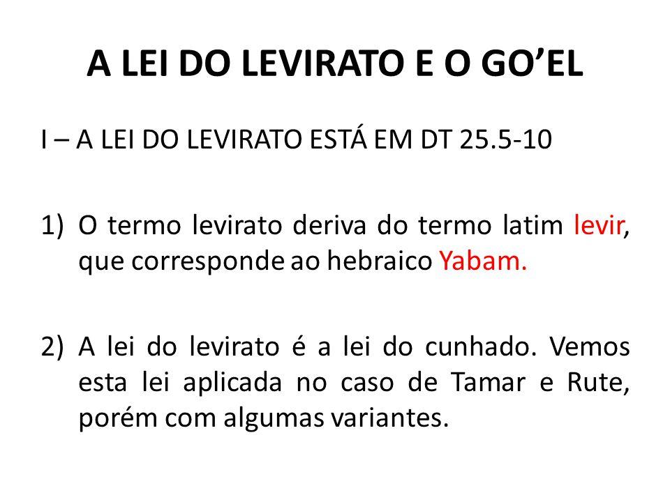 A LEI DO LEVIRATO E O GOEL a)No caso de Tamar Judá não tinha mais filhos e parece que o dever do casamento afetava o sogro.