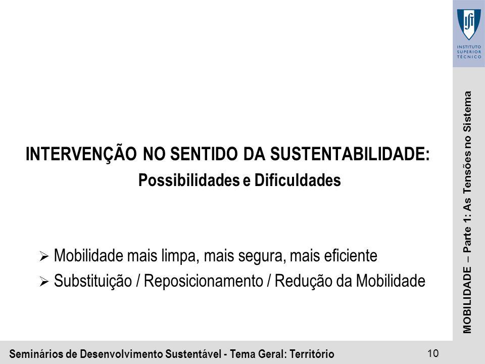 Seminários de Desenvolvimento Sustentável - Tema Geral: Território10 MOBILIDADE – Parte 1: As Tensões no Sistema INTERVENÇÃO NO SENTIDO DA SUSTENTABILIDADE: Possibilidades e Dificuldades Mobilidade mais limpa, mais segura, mais eficiente Substituição / Reposicionamento / Redução da Mobilidade