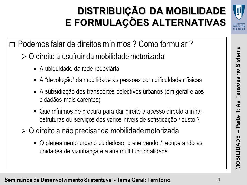 Seminários de Desenvolvimento Sustentável - Tema Geral: Território4 MOBILIDADE – Parte 1: As Tensões no Sistema DISTRIBUIÇÃO DA MOBILIDADE E FORMULAÇÕES ALTERNATIVAS r Podemos falar de direitos mínimos .