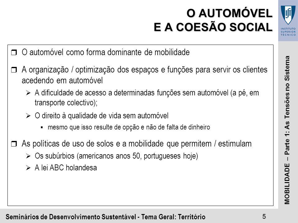 Seminários de Desenvolvimento Sustentável - Tema Geral: Território5 MOBILIDADE – Parte 1: As Tensões no Sistema O AUTOMÓVEL E A COESÃO SOCIAL r O automóvel como forma dominante de mobilidade r A organização / optimização dos espaços e funções para servir os clientes acedendo em automóvel A dificuldade de acesso a determinadas funções sem automóvel (a pé, em transporte colectivo); O direito à qualidade de vida sem automóvel mesmo que isso resulte de opção e não de falta de dinheiro r As políticas de uso de solos e a mobilidade que permitem / estimulam Os subúrbios (americanos anos 50, portugueses hoje) A lei ABC holandesa
