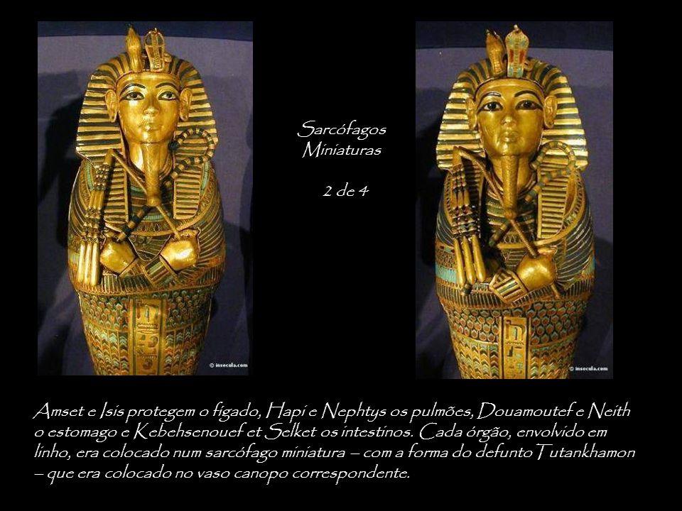 Amset e Isis protegem o fígado, Hapi e Nephtys os pulmões, Douamoutef e Neith o estomago e Kebehsenouef et Selket os intestinos.