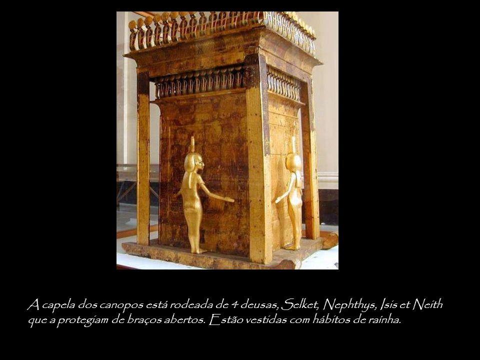 A capela dos canopos está rodeada de 4 deusas, Selket, Nephthys, Isis et Neith que a protegiam de braços abertos.