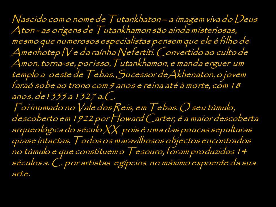 Nascido com o nome de Tutankhaton – a imagem viva do Deus Aton - as origens de Tutankhamon são ainda misteriosas, mesmo que numerosos especialistas pensem que ele é filho de Amenhotep IV e da raínha Nefertiti.