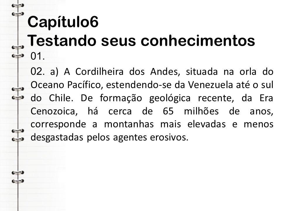 Capítulo6 Testando seus conhecimentos 01. 02. a) A Cordilheira dos Andes, situada na orla do Oceano Pacífico, estendendo-se da Venezuela até o sul do