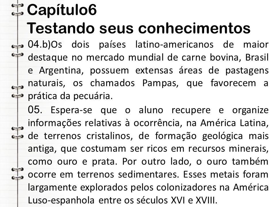 Capítulo6 Testando seus conhecimentos 04. b)Os dois países latino-americanos de maior destaque no mercado mundial de carne bovina, Brasil e Argentina,