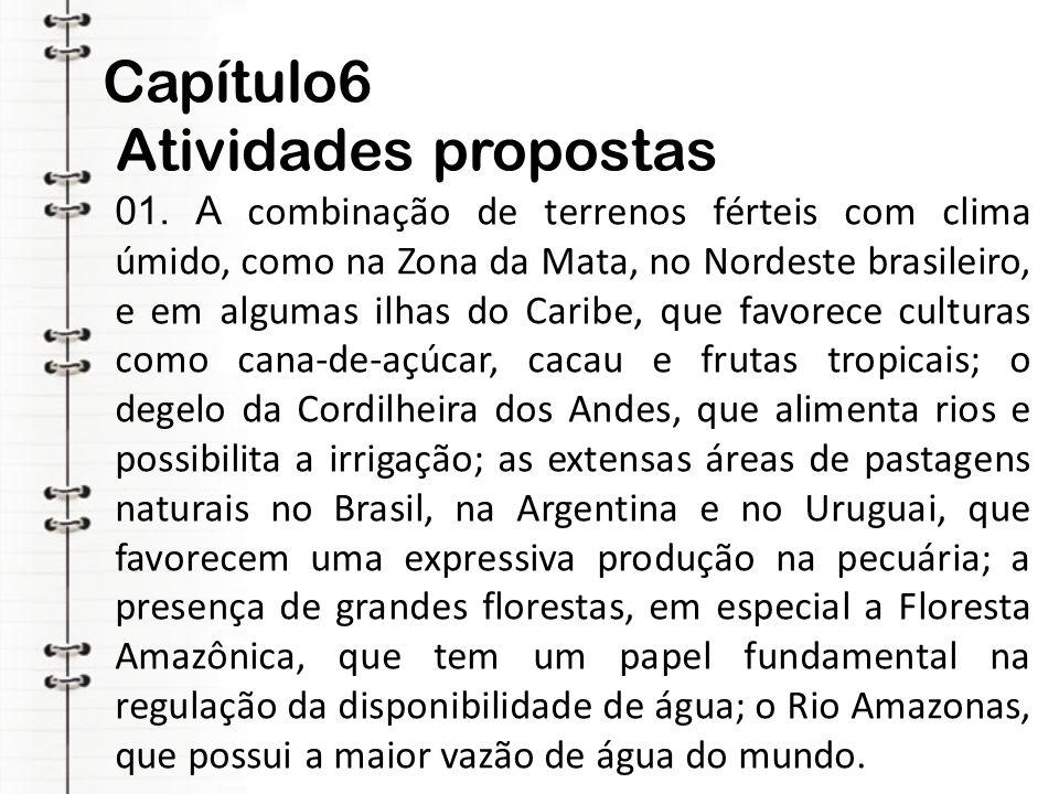 Capítulo6 Atividades propostas 01. A combinação de terrenos férteis com clima úmido, como na Zona da Mata, no Nordeste brasileiro, e em algumas ilhas