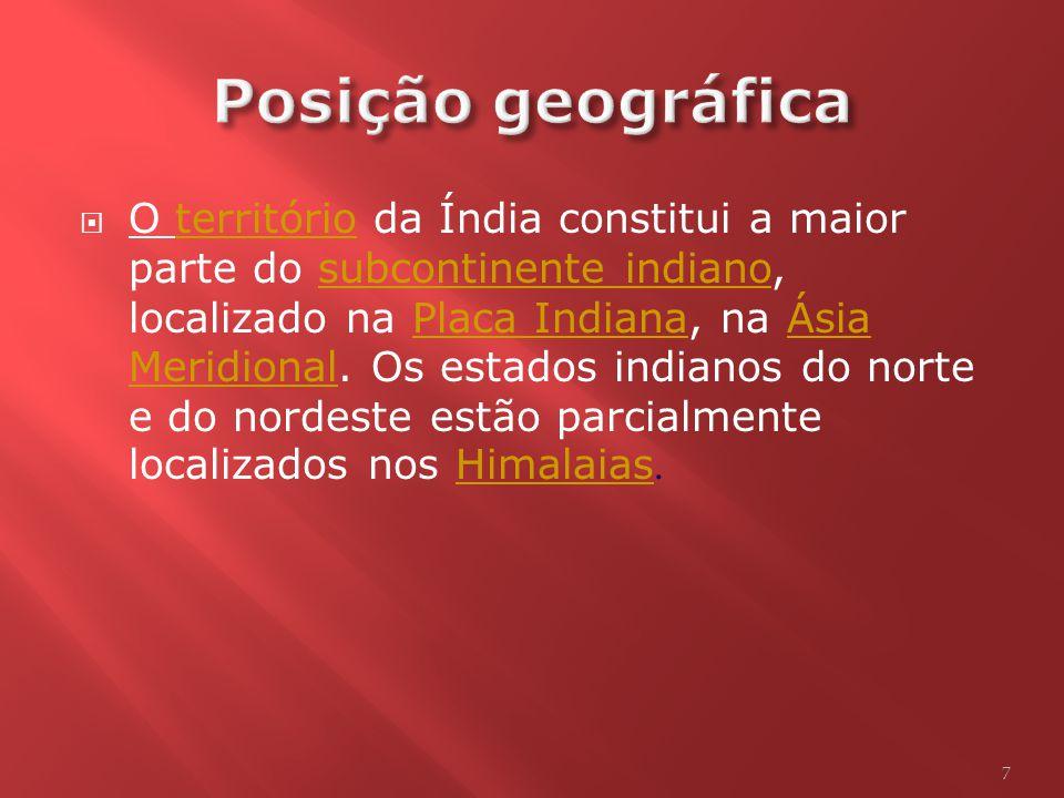O território da Índia constitui a maior parte do subcontinente indiano, localizado na Placa Indiana, na Ásia Meridional.