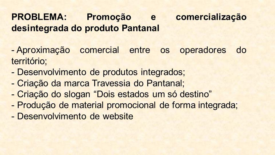 PROBLEMA: Promoção e comercialização desintegrada do produto Pantanal - Aproximação comercial entre os operadores do território; - Desenvolvimento de