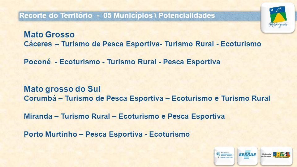 Recorte do Território - 05 Municípios \ Potencialidades Mato Grosso Cáceres – Turismo de Pesca Esportiva- Turismo Rural - Ecoturismo Poconé - Ecoturis