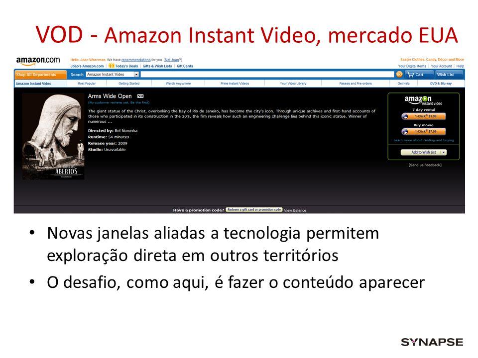 VOD - Amazon Instant Video, mercado EUA Novas janelas aliadas a tecnologia permitem exploração direta em outros territórios O desafio, como aqui, é fa